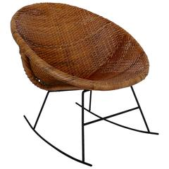 Calif Asia Iron and Rattan Rocker
