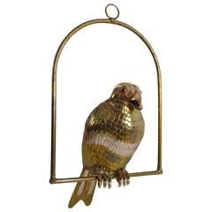 Sergio Bustamante Copper Parrot on Swing
