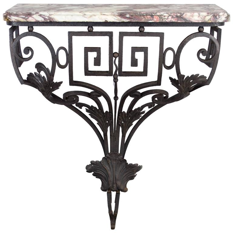 18th c. Louis XVI French Iron Console with marble top