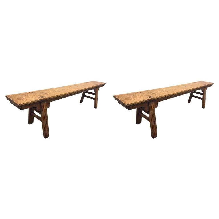 Pair Of 19th Century 84 Long Elmwood Chinese Benches For Sale At 1stdibs