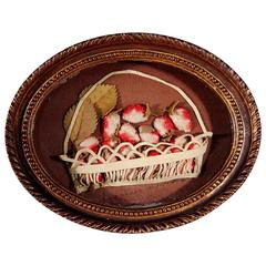 Oval Applique Picture of a Basket of Fruit