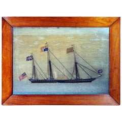 British Sailor's Woolwork Picture of Royal Yacht, HMY Victoria and Albert II