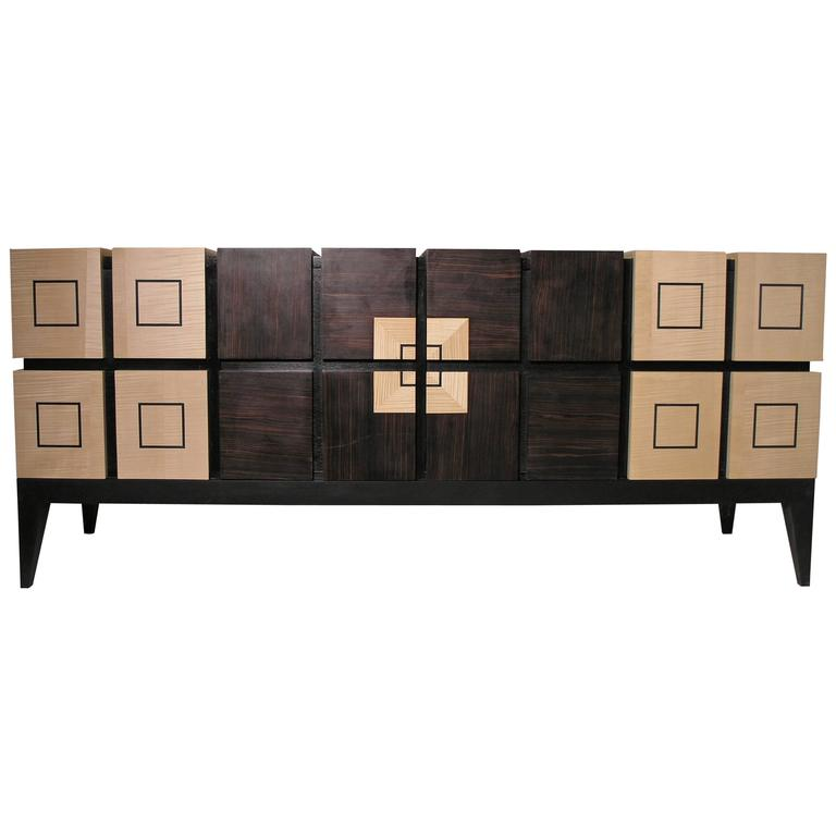 "Chest of Drawers ""Bar"" in Sycomore and Ebony by Aymeric Lefort"