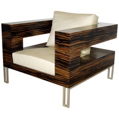 """Aymeric Lefort Armchair """"A Bras Ouvert"""", 21st Century, in Ebony"""