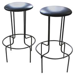 Pair of Mid-Century Iron Stools Made in the USA