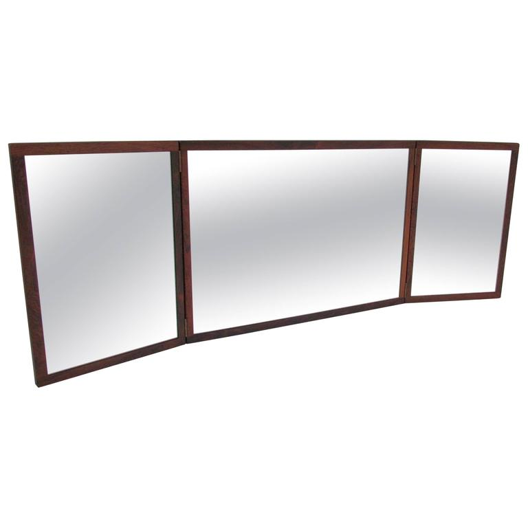 Tri Fold Wall Mirror danish rosewood tri fold wall mirrorkai kristiansen for aksel
