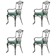 Set of Four Ram-Head Motif Chairs, France, 1940s Style