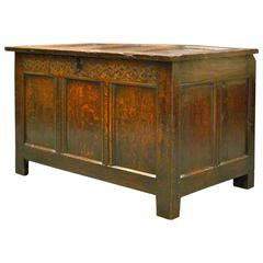Late 17th Century, Charles II, Oak Joined Coffer