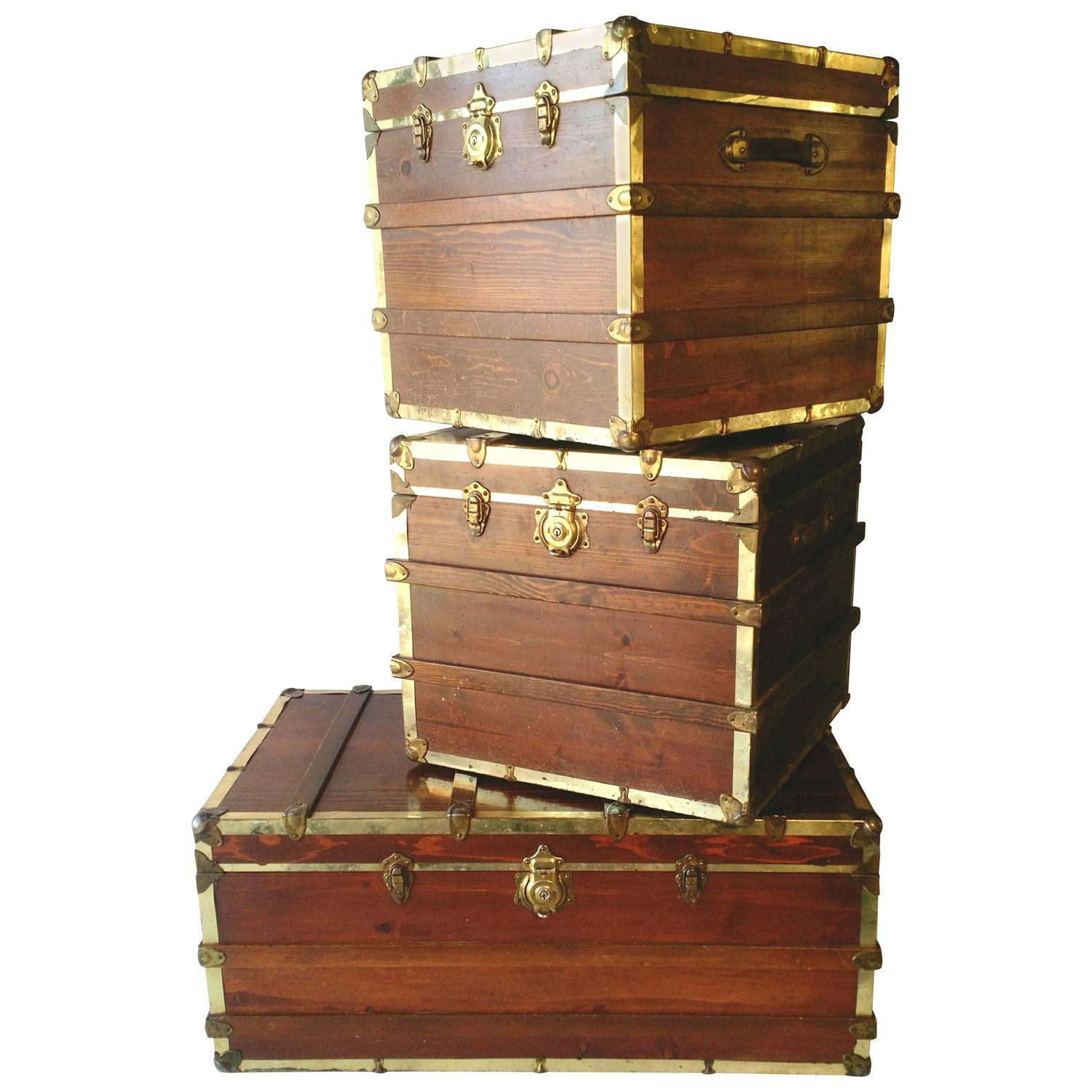 Mid century industrial wood steamer trunk coffee and end table set 1960s at 1stdibs Trunks coffee tables