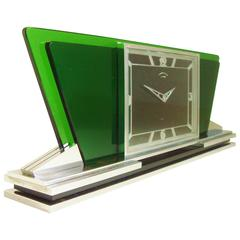 Stunning Swiss Art Deco Chrome and Glass Mechanical Desk Chronometer by CYMA