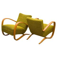 Two Lounge Chairs by Jindrich Halabala for UP Zavody in the 1930s