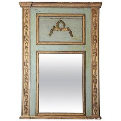 Antique 19th Century Painted and Gilt Trumeau Mirror