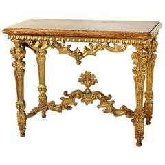 Antique Italian Giltwood And Marble Topped Console. Antique French Marble  Top Giltwood Console Table