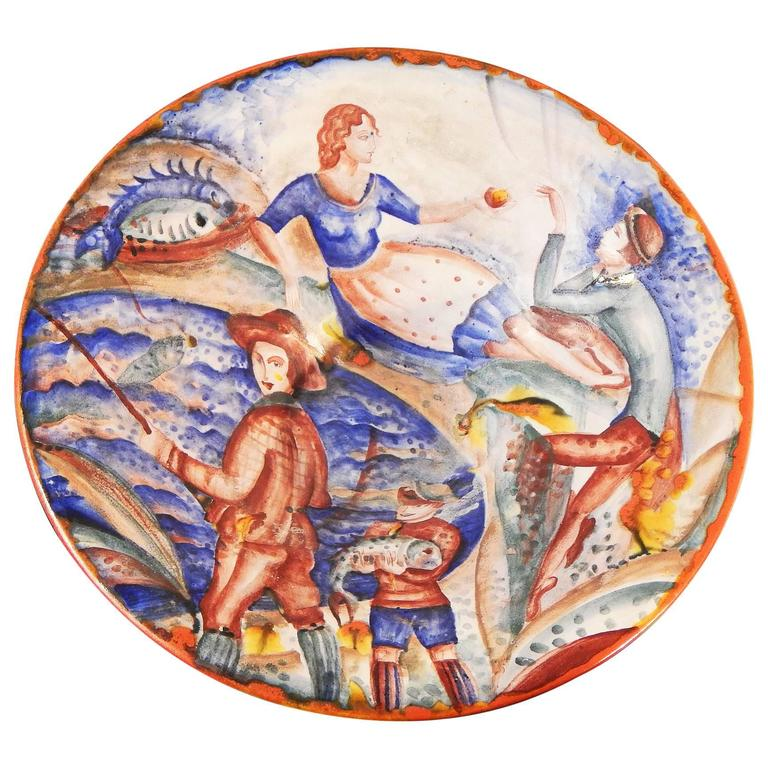 """Seaside Scenes,"" Unique Art Deco Bowl with Fishing Village Scenes"