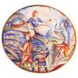 """Seaside Scenes,"" Unique Art Deco Bowl with Fishing Village Scenes"