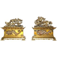 Pair of Unusual and Heavy Antique Brass Dragon Chenets