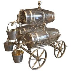 Late 19th Century Three-Barrel Drink Cart Tantalus