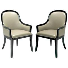 "Pair of Karl Springer ""Regina"" Armchairs in Complementary Leather"