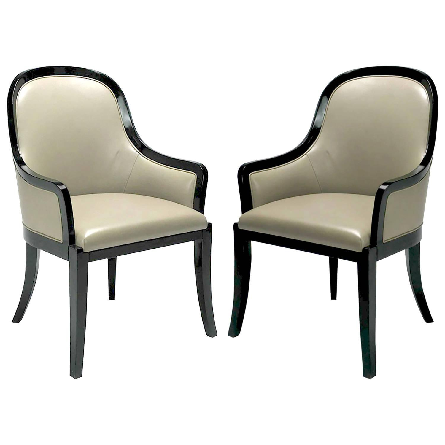 Pair of karl springer quot regina armchairs in complementary
