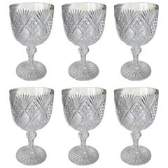 Six Exceptional American Cut-Glass Goblets, circa 1900