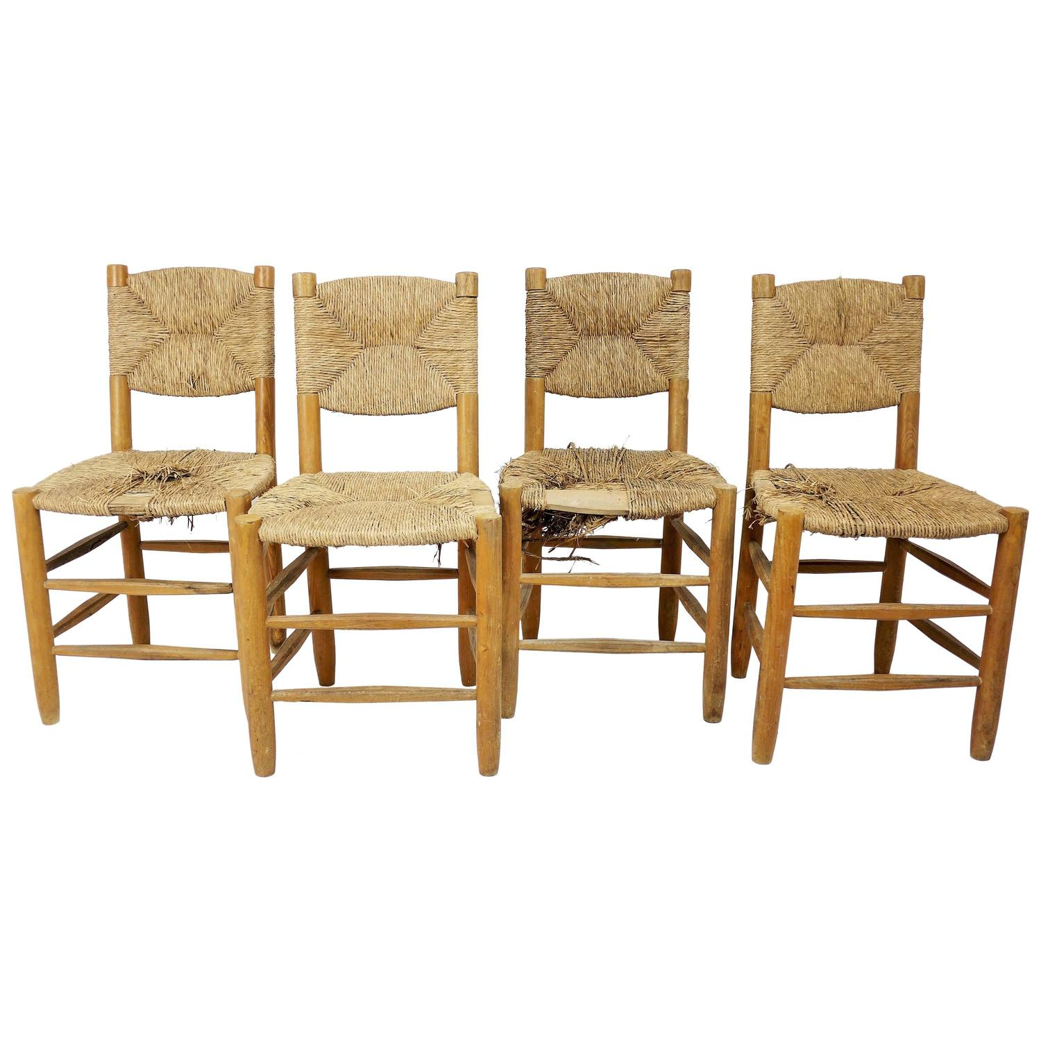 Set Of Four Rush Chairs By Charlotte Perriand For Sale At 1stdibs