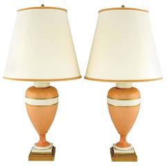 Pair of Marbro Coral and White Porcelain Neoclassical Lamps
