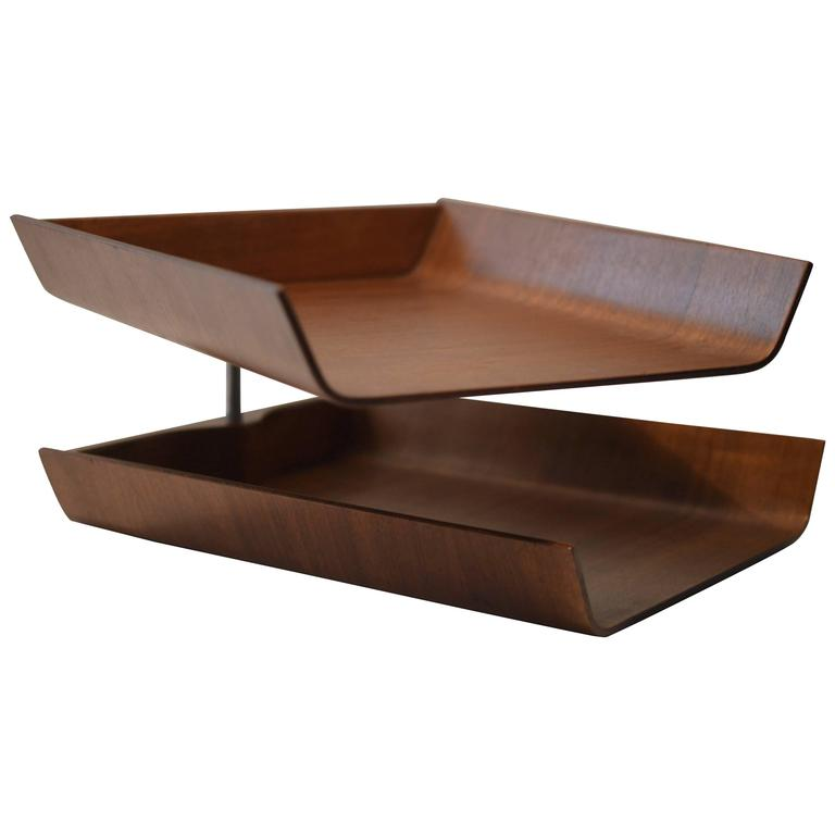 Walnut Plywood Double Pivoting Letter Tray By Florence Knoll For
