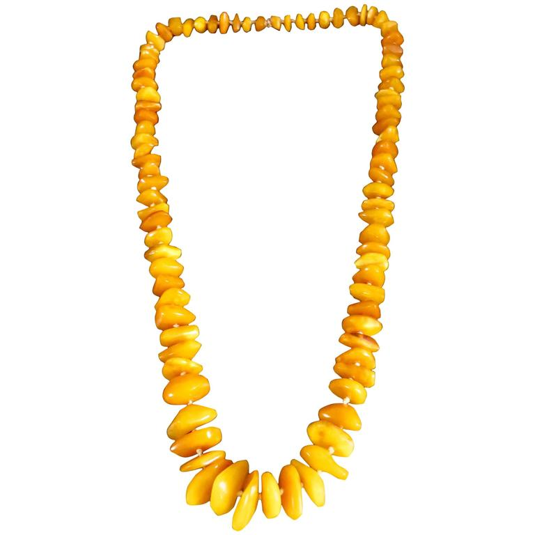 Natural Baltic Butterscotch Egg Yolk Amber Necklace‏ For Sale
