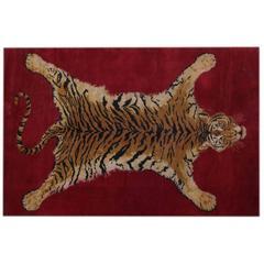Sprawled Tiger Rug, Belgium, circa 1970