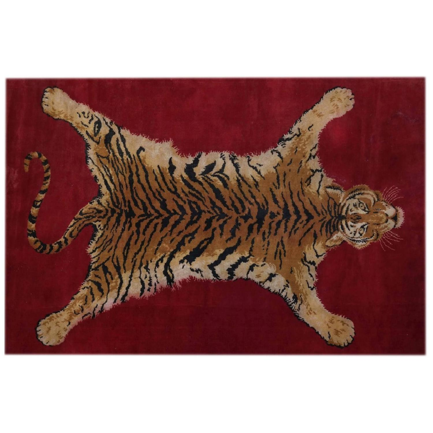 Sprawled Tiger Rug, Belgium, Circa 1970 At 1stdibs