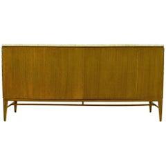 Paul McCobb for Calvin Mahogany and Travertine Dresser with Dual Tri-Fold Doors