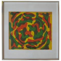 Abstract Art Silkscreen Print from the Estate of Jack Larson, 1972