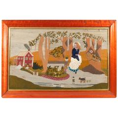 Charming Sailor's Wool and Silk Landscape Picture