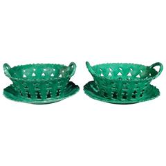 Wonderful Pair of English Greenware Baskets and Stands, Brameld, Yorkshire