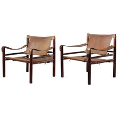 Pair of Midcentury Rosewood and Leather Safari Chairs