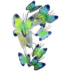 Curtis Jere 1969, Enameled Sculpture, Nine Butterflies, Signed and Dated