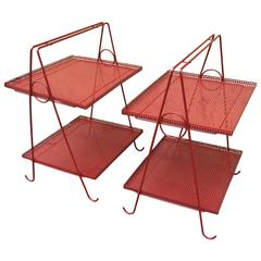Style of Mathieu Matégot Awesome Pair of Two Tiers Side Tables