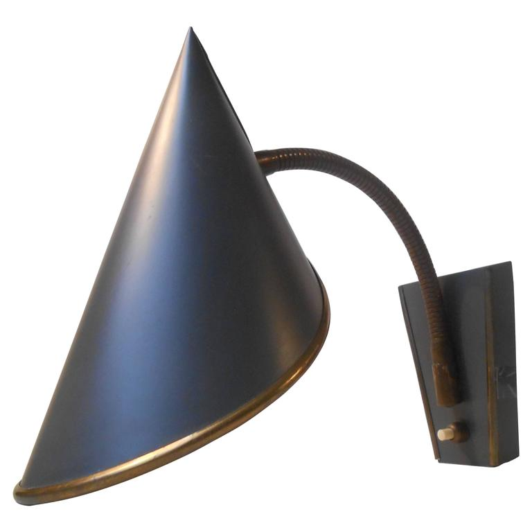 Rare Swedish 1950s Wall Sconce Lamp Slate Satin Black / Brass Detailing by ASEA at 1stdibs