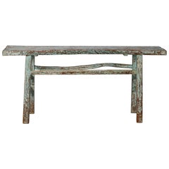 Primitive Chinese Console with Blue Green Paint