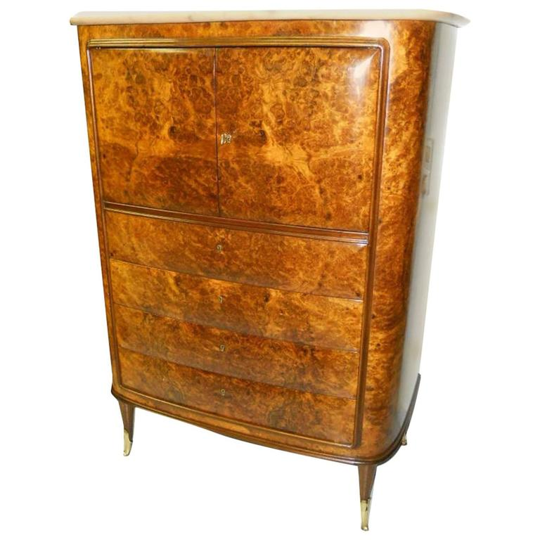 Rare Italian Secretaire Attributed to Osvaldo Borsani with Marble Top For Sale