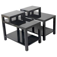 Pair of Black Lacquered End Tables by T.H. Robsjohn-Gibbings