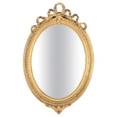 French Oval Louis XVI Style Gold Gilt Mirror