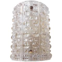 Large 1950s Carl Fagerlund Crystal /Brass Wall Sconce Swedish Modern by Orrefors