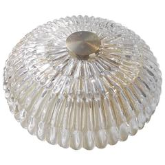 1950s Carl Fagerlund Crystal Flush Mount Chandelier - Swedish Modern by Orrefors
