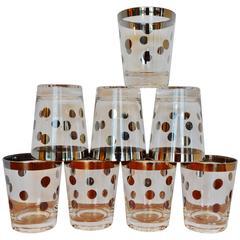 Dorothy Thorpe Chrome Edge & Polka Dot Glasses, Set of Eight