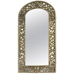 Reticulated Bronze Frame Mirror by Oscar Bach