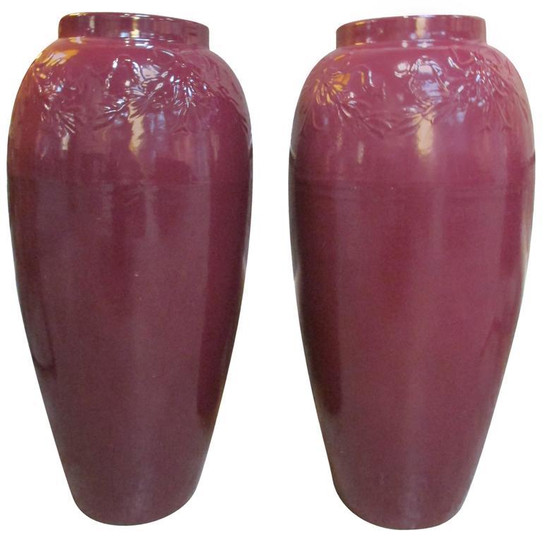 Pair of 1950s Ceramic Jardinieres For Sale