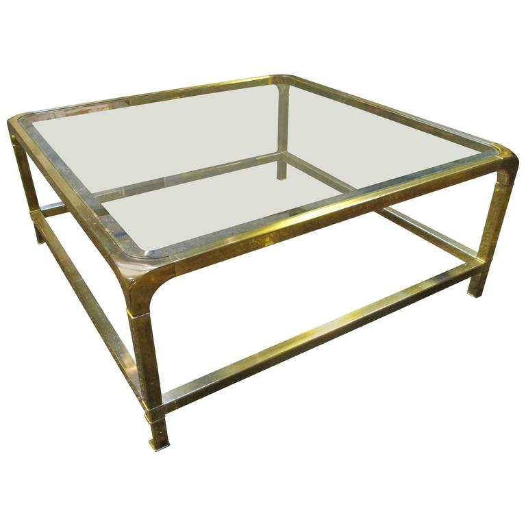 Mastercraft Brass And Glass Square Coffee Table At 1stdibs