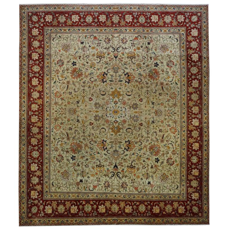 Persian Tabriz 20th Century Square Oriental Rug For Sale