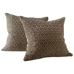 Butterfly Dowry Textile Pillow, Charcoal